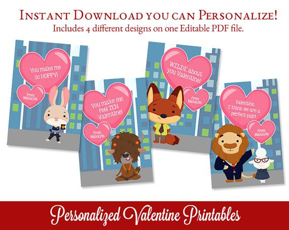 Animal Valentines Day Cards Valentine por SugarPickleParty en Etsy