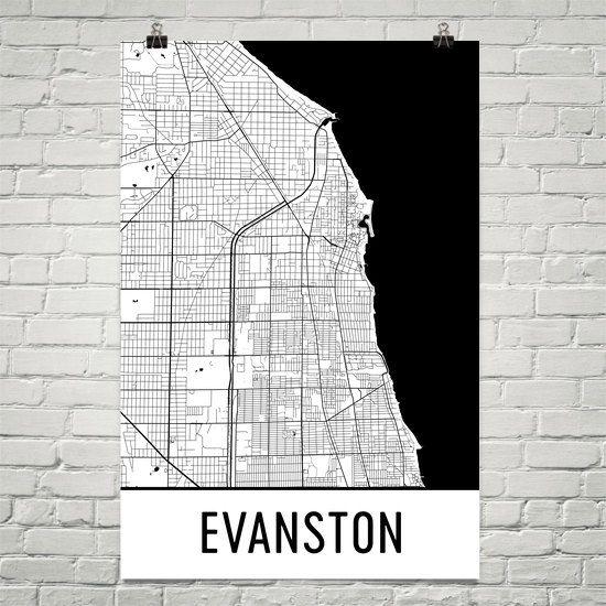 Evanston Map Evanston Art Evanston Print Evanston Il Poster Evanston Wall Art