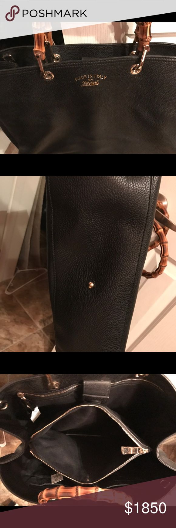 Brand new with tags large Gucci bamboo bag New with tags still attached. Bought new at the Gucci store for over $2200. Plastic still on the zipper. No scratches or wear at all. Used once for about two hours and stored away. Don't have the bag that came with it. Make an offer. Gucci Bags Totes