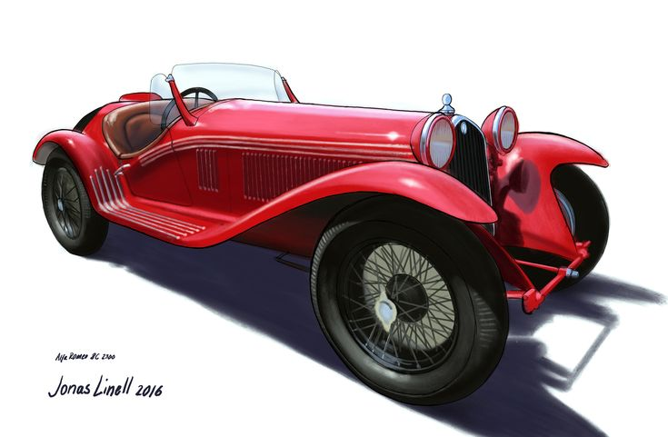 Illustration of an Alfa Romeo 8C 2300 1932. Painted by Jonas Linell 2016