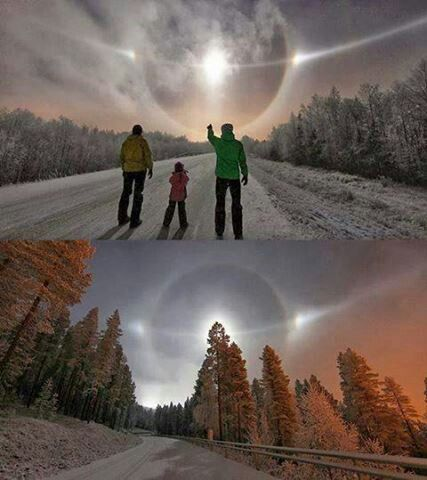 Paraselene phenomenon, Levi Fells, North Finland: Looks like a scene from a sci-fi movie, but it's real; a breathtaking view of an optical phenomenon called Sun Dog (scientific name: paraselene). The photos were taken at a ski resort in Levi, Finland by Photographer Pauli Hänninen.