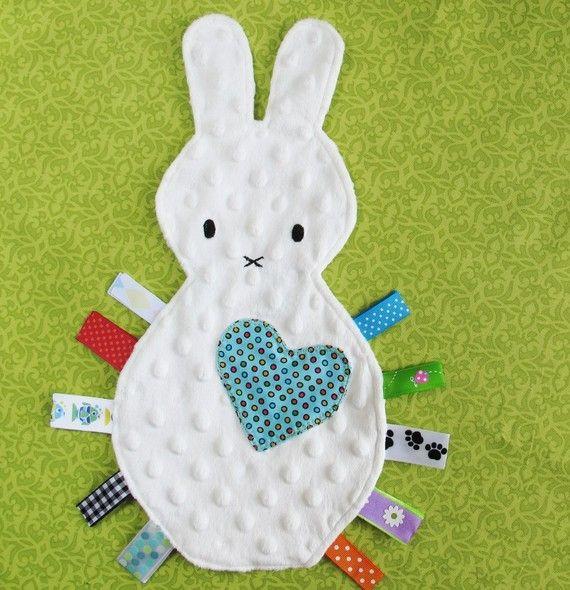 Soft taggie bunny via ETSY