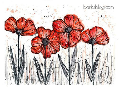 Poppy Project: Watercolour and Ink? Create black portion first using ultra fine black felt and fill in with black waterecolour (try first) then add red into poppies. Add highly faded red into background. (see additional example under Grade 5 Art)