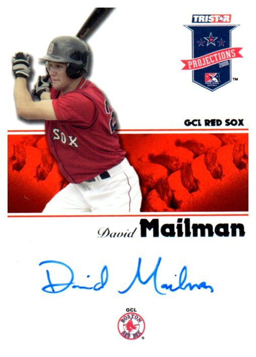 2008 Tristar Projections David Mailman Autograph Card Boston Red Sox