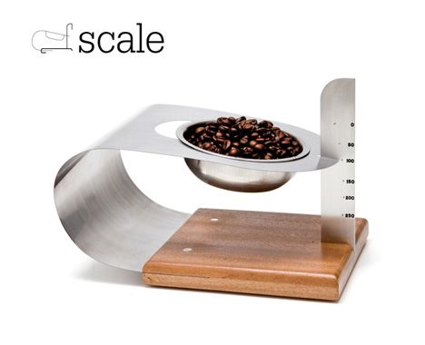 Stylish + Analog: Kitchen Scale Weighs With Bendy Metal - http://www.decorismo.com/interior-design-ideas/stylish-analog-kitchen-scale-weighs-with-bendy-metal/