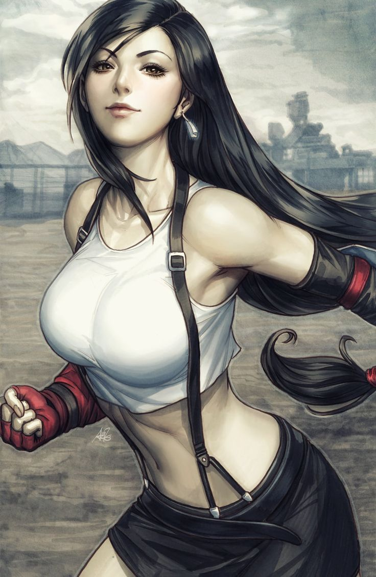 Tifa Lockhart Colorised by Artgerm, Final Fantasy 7 VII digital painting, sexy woman character fighter, #tifa, gaming character, strong female lead, digital painting, inspirational art