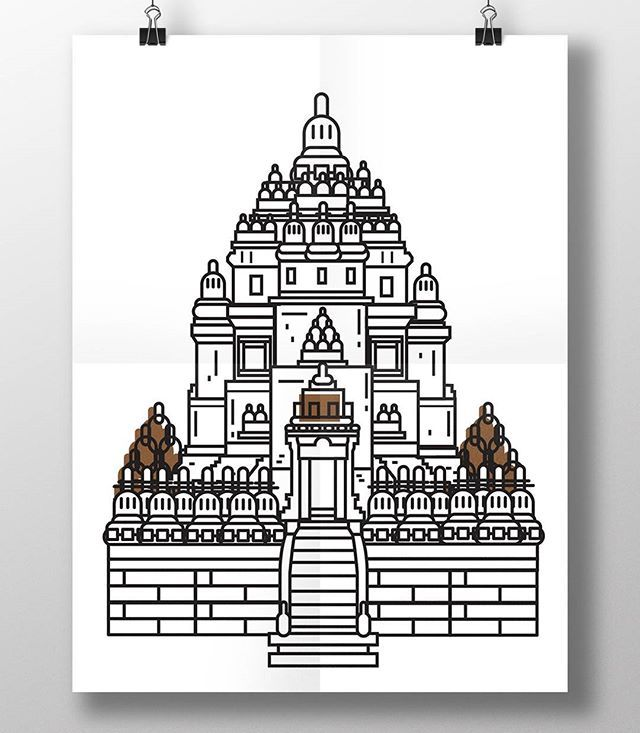 The next postage #design is my mom's hometown #prambanan I really try my best to make it resemble the real temple -- the big one, the main temple -- but if I see this more and more I can't deny myself it's looks like #plaosan #temple another temple site in Klaten #Yogyakarta  You sure have to visit it once. The last time I went there -- like um 2 years ago? -- it is really a quiet place. You can take a lot of pictures~ Plaosan temple have a wider body than Prambanan but Prambanan the…