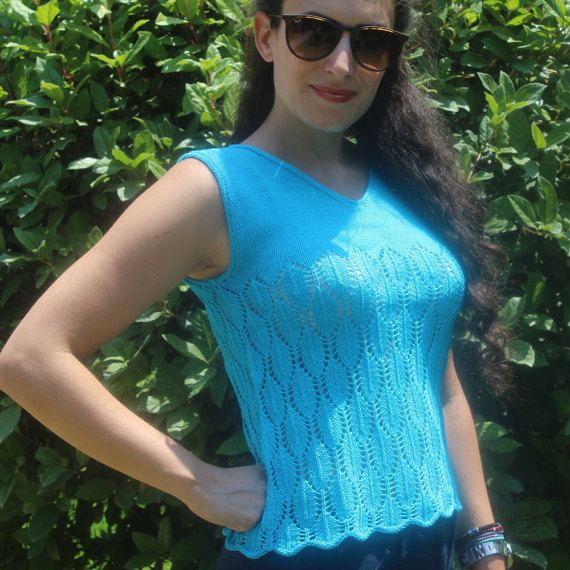 Turquoise Sleeveless Top  Lace Tank Top  Summer by ManibusFacta