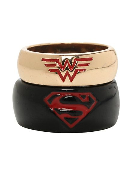 Trending DC Comics Superman u Wonder Woman His u Hers Medium Ring Set Hot Topic