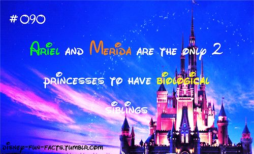 Disney Fun Fact: Ariel from The Little Mermaid and Merida from Brave are the only two princesses to have biological siblings.