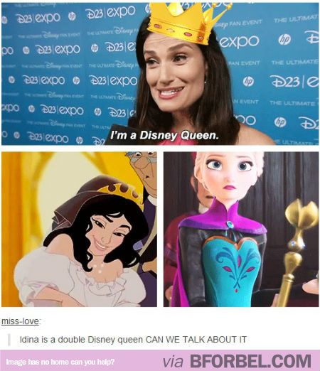 YEP!!  Hahaha, who gets to say they were a disney queen, twice!  Another reason why Idina Menzel is awesome!>>> I just want to know who the queen on the left is... I know Elsa bit who's the other?