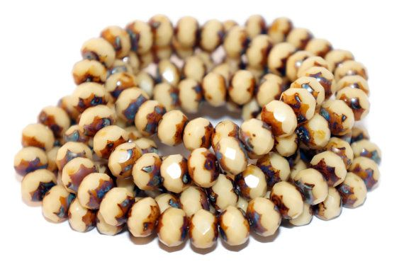 Picasso Czech Glass Beads Rondells Brown Creme Beige Original Exclusive Authentic 9mm x 6mm 10pc  #beads #czechbeads #czechoriginalbeads #czechauthenticbead #czechglassbeads #glassbeads #picasso #picassobeads #czechbeadspicasso #etsy