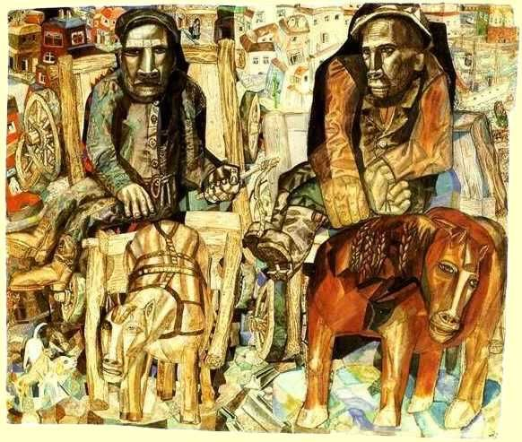 The Dray Men by Pavel Filonov Size: 45x58 cm Medium: indian ink, pen, graphite, brush, ink, watercolor on paper