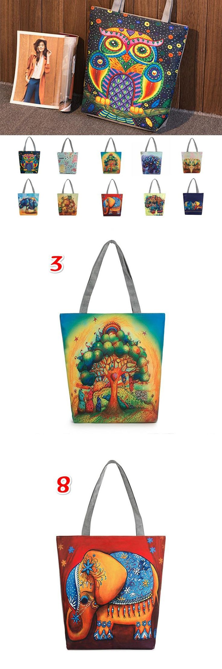 Women #Canvas Beach #Bag #Cartoon #Owl Printed #Casual Tote Daily Use Single #Shoulder #Shopping Bags Female #Handbag