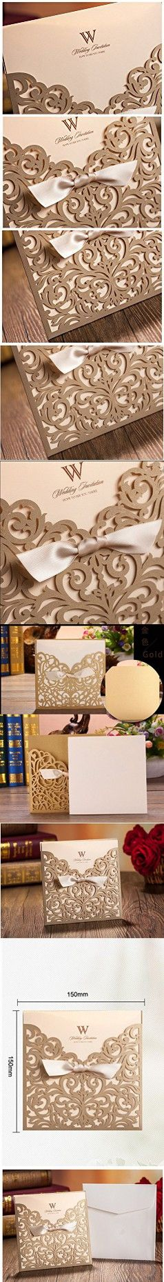 """Graces Dawn 100pcs Laser-cut Lace Flower Pattern Wedding Invitations Cards(set of 100pcs) and Blank Cards and Envelopes 6 x 6"""" - Value Pack (Champagne Gold)"""