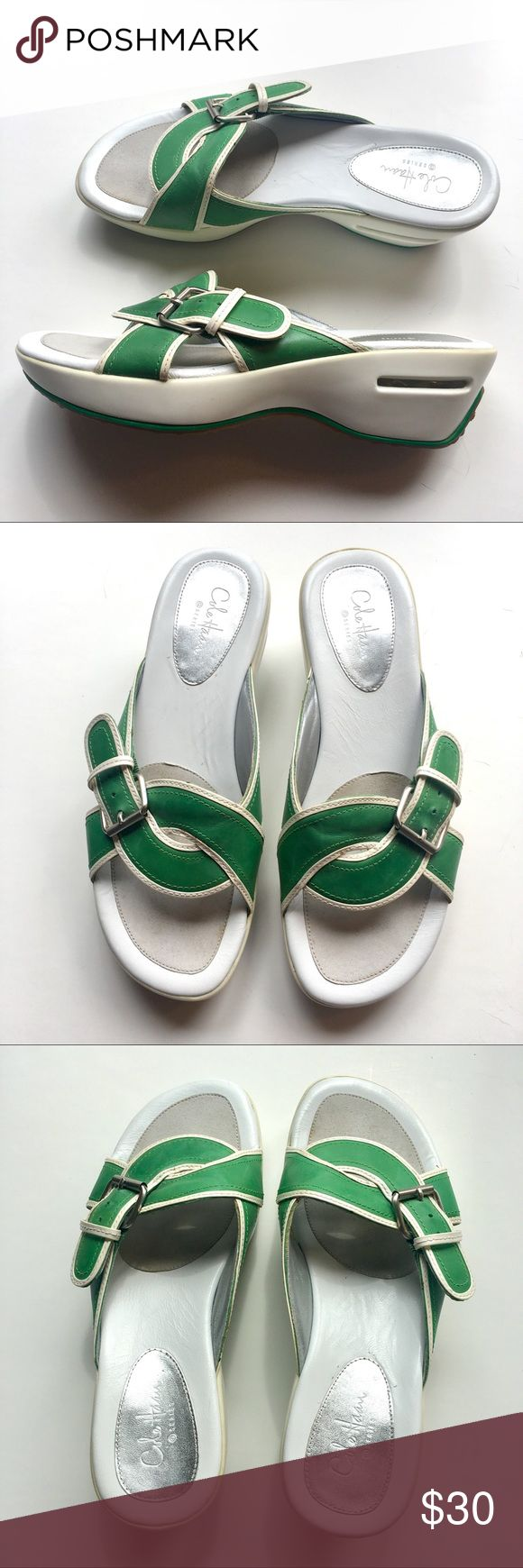 "Cole Haan G Series with Nike Air Sandals 2"" wedge. Spring green with white trim criss-cross leather strap with buckle. Soft cushioned foot bed with Nike Air shock technology in heel. Rubber sole. Worn a couple times. Very good used condition. Cole Haan Shoes Sandals"