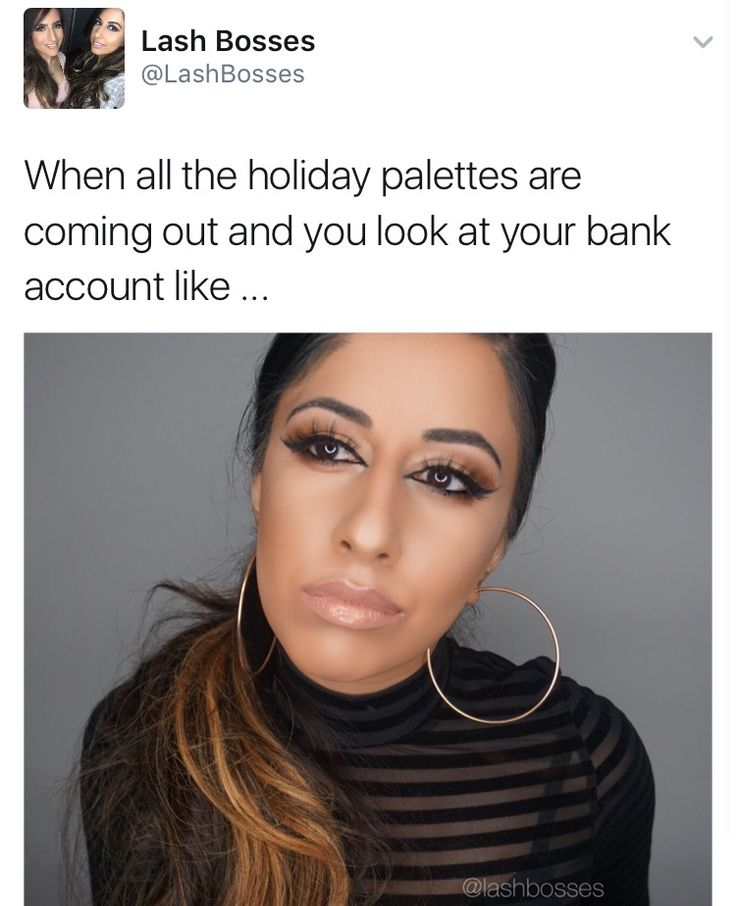 When all the holiday palettes are coming out. Makeup humor makeup memes beauty memes. Lash Bosses lashbosses