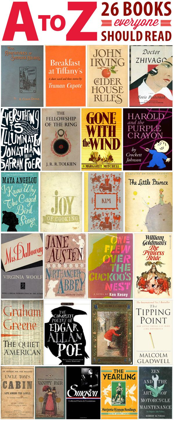 The Half Price Blog - A to Z: 26 Books Everyone Should Read...have read a bunch but not all!