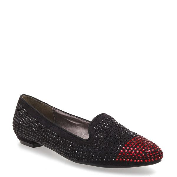 Black suede loafer with red and black rhinestones and round toe.