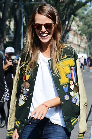 10/01/13: A badged varsity jacket, spotted by Tommy Ton. #LookOfTheDay: