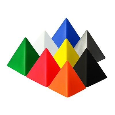STRESS PYRAMID  Stress Pyramid. Pad Print area 55mm x 55mm. Includes 1 Colour 1 Position Pad Print. Colours: White, Red, Blue, Yellow, Orange, Green, Silver, Black.  Size: 78mm x 78mm x 78mm