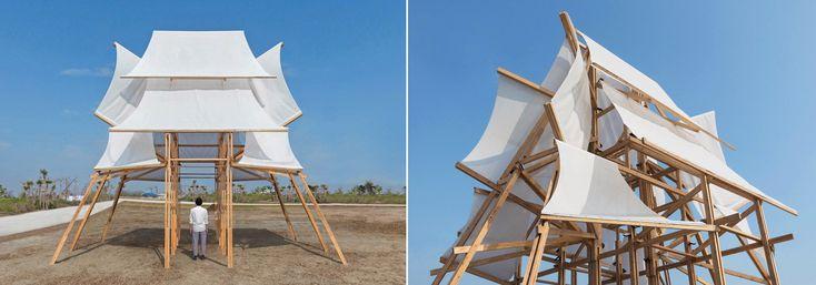cheng tsung feng builds 'sailing castle' pavilion for taiwan lantern festival