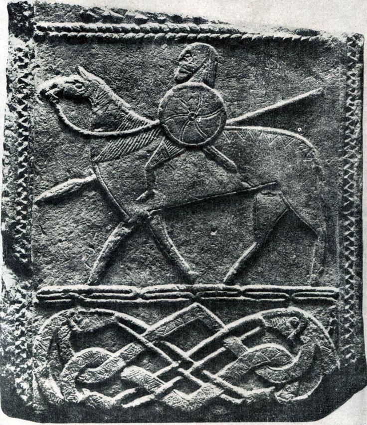 158.  Рельеф из Хорнхаузена с изображением всадника. Камень. Около 700 г. Холле, Музей.