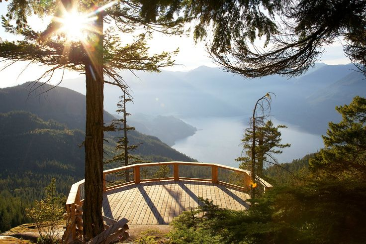 The Sea to Sky Gondola, Squamish, BC Opening May 2014. The Spirit Viewing Platform - Boasting views of Howe Sound fjord, the Stawamus Chief, the high coastal alpine mountains and Shannon Falls