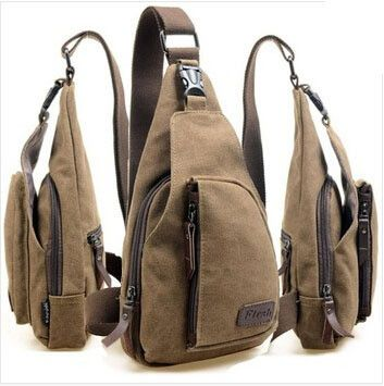 Casual Style Canvas Men's Cross-Body Bag With Solid Color and Zipper Design