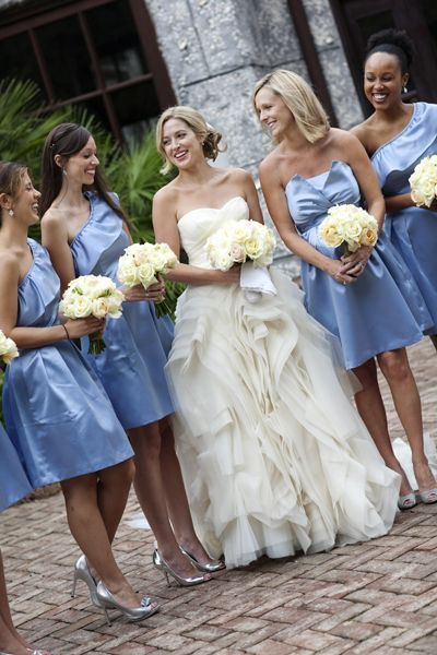 Periwinkle blue bridesmaids for Periwinkle dress for wedding