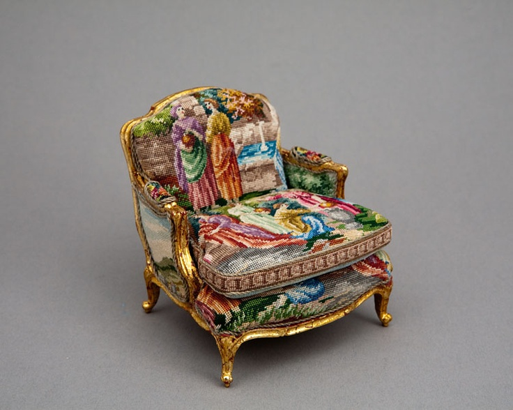 Miniature handcrafted gold leaf chair upholstered in antique petitpoint via Good Sam show