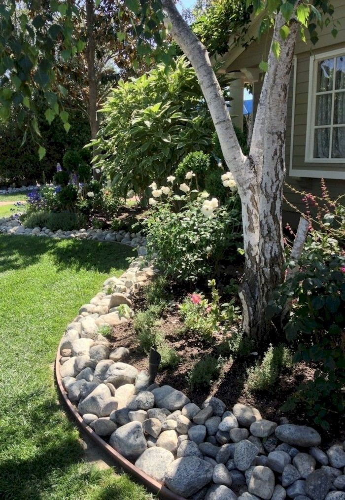 41 Lovely River Rocks Ideas for Front Yard Landscapes ... on Rocks For Backyard  id=40382