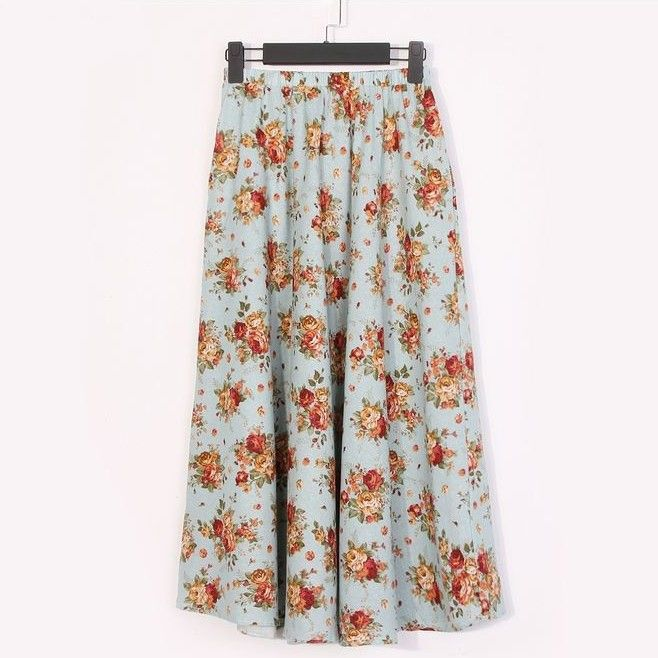 A Lined Ankle Length Linen Floral Pattern Ladies Long Pleated Skirt