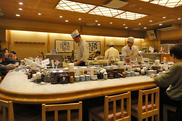 Conveyor belt sushi at Musashi Sushi in Kyoto