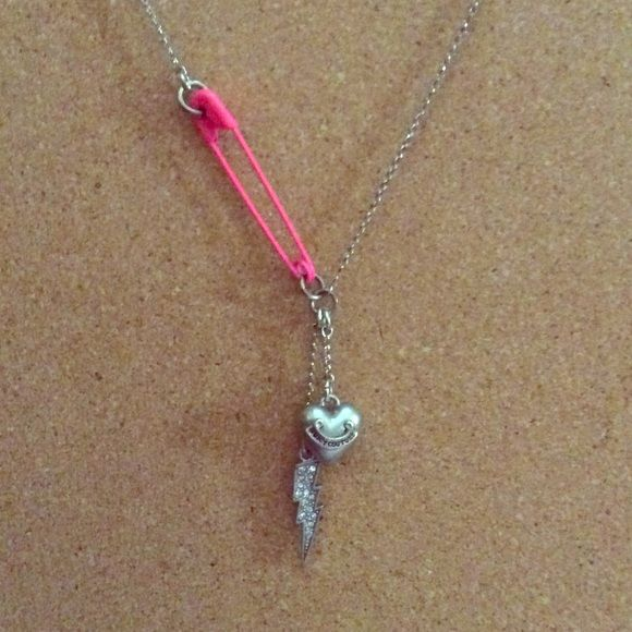 Juicy Couture Necklace Lightening Bolt and Juicy Couture Heart Charms with Pink Safety Pin on an Adjustable Chain Juicy Couture Jewelry Necklaces