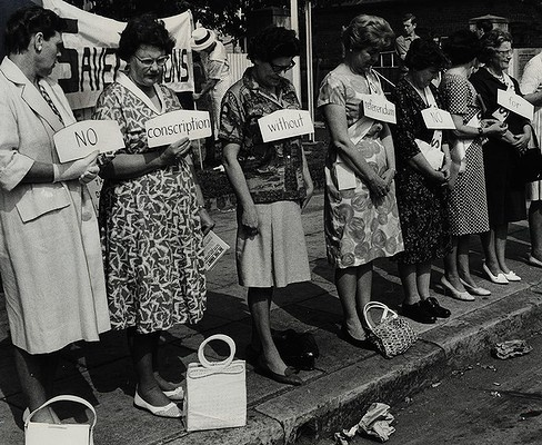 Women from the Save Our Sons movement protest in Sydney against conscription of Australian's during the Vietnam War. October 1, 1965.