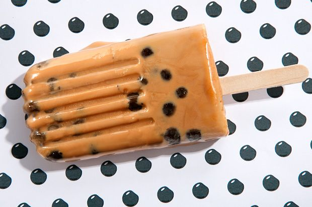 Milk Tea with Tapioca Pearl Ice Pops.  I love milk tea boba but never though to make a popsicle out of it.