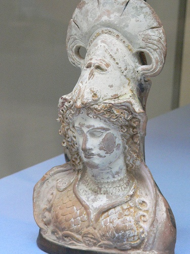 Terracotta oil or perfume flask in the form of Athena 400 to 375 BCE Athens British Museum