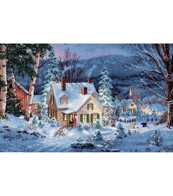 "Gold Collection Winter's Hush Counted Cross Stitch Kit-20""X14"" 16 Count, , hi-res"