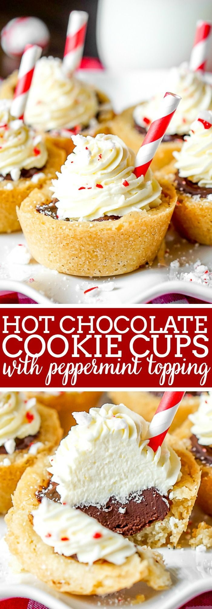 Bring the classic holiday drink to your Christmas cookies with these Hot Chocolate Cookie Cups with non wilt whipped peppermint topping! An easy sugar cookie cup is filled with rich, decadent chocolate ganache, then garnished with peppermint pieces and a straw for a gorgeous presentation. They make the perfect addition to any Christmas Cookie Exchange!  The Love Nerds #christmascookie #sugarcookiecup #hotchocolatecookies via @lovenerdmaggie