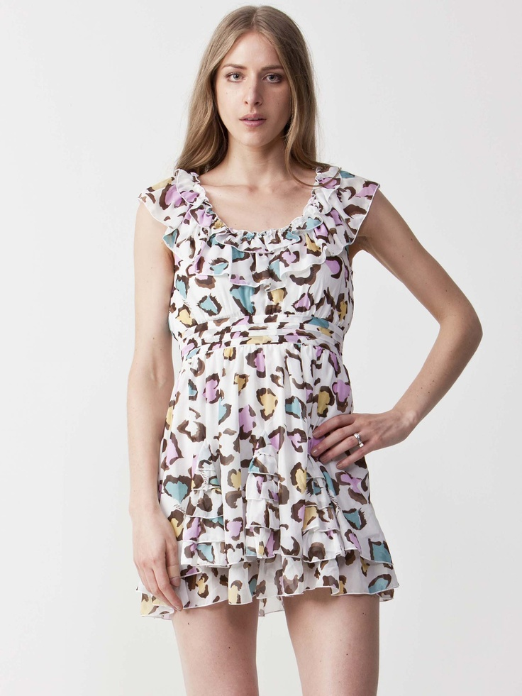 Brooklyn - Multi Colour Print Dress with round neckline. Light pleated skirt with sleeveless design. Regular fit and length. $49.50