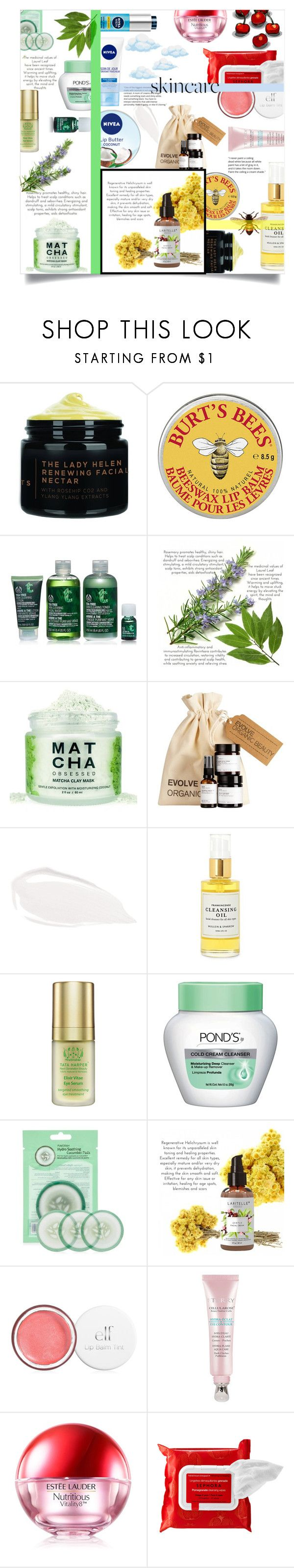 """""""Hello, Flawless: Skincare"""" by katerina1500 ❤ liked on Polyvore featuring beauty, Nivea, Too Faced Cosmetics, Mullein & Sparrow, Tata Harper, Forever 21, Estée Lauder, Sephora Collection and SkinCare"""