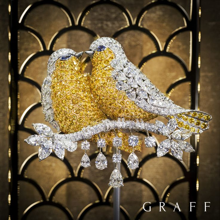 YELLOW AND WHITE DIAMOND LOVE BIRDS ~ A statement yellow and white diamond Love Bird brooch featuring 441 yellow diamonds and incorporating a total of 46 carats of exceptional diamonds. Graff Diamonds.