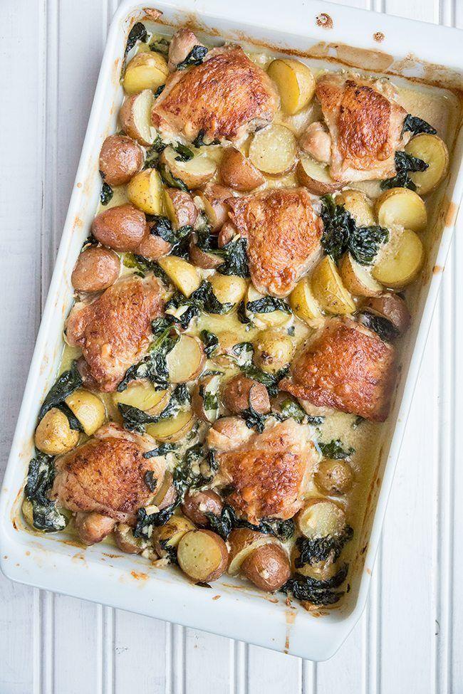 Creamy Garlic Parmesan Chicken & Potatoes from @kitchenmagpie
