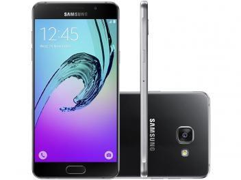 "Smartphone Samsung Galaxy A5 2016 Duos 16GB Preto - Dual Chip 4G Câm. 13MP + Selfie 5MP Tela 5.2"" FHD"