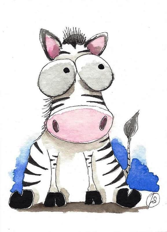 ACEO Original watercolor art painting Lucia Stewart whimsical animal baby zebra…