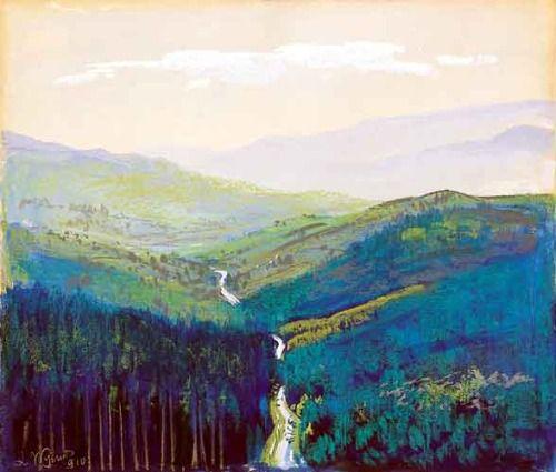"""""""Leon Wyczółkowski (Polish, 1852-1936), Jaremcze, 1910. Mixed media, 54 x 64 cm. """""""