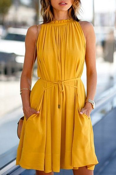 Orange Sleeveless Tie Waist Ruched Swing Dress