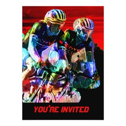Super Crayon Colored Bicycle Race Card - birthday invitations diy customize personalize card party gift