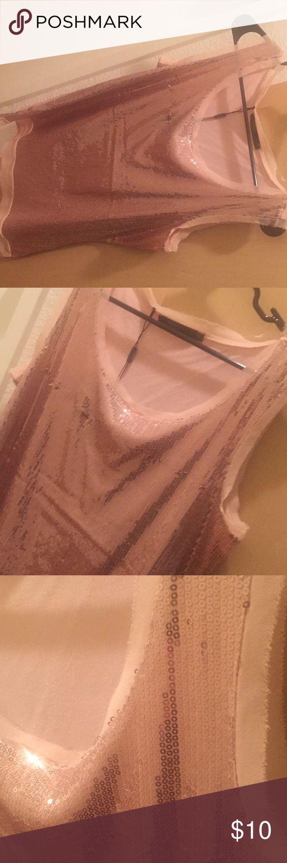 Top Glittery pink-peach color sleeveless top manguun Tops Tank Tops